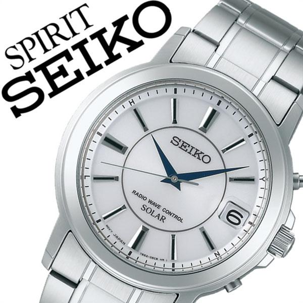 [当日出荷] 【5年保証対象】セイコー スピリット 腕時計 SEIKO SPIRIT 時計 セイコースピリット 時計 SEIKOSPIRIT 腕時計 セイコー スピリット時計 SEIKO SPIRIT時計 メンズ ホワイト SBTM219 スピリッツ メタル ベルト ソーラー 電波 ペア ウォッチ シルバー 送料無料