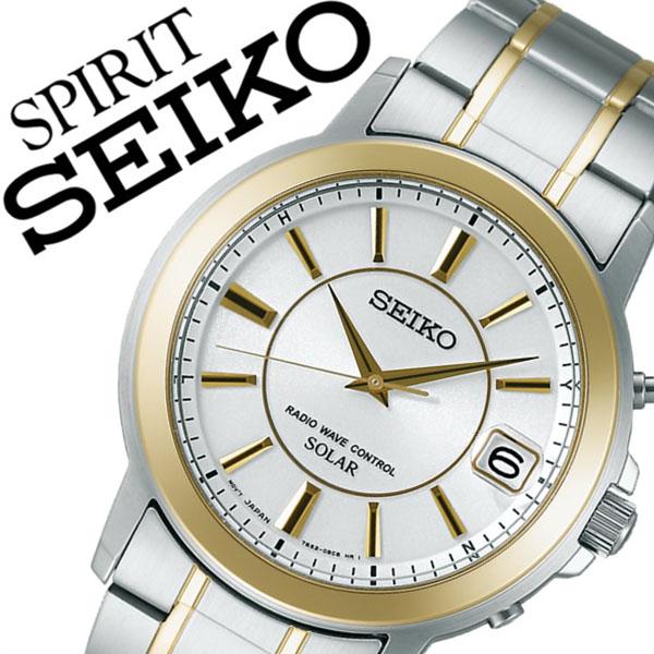 【5年保証対象】セイコー スピリット 腕時計 SEIKO SPIRIT 時計 セイコースピリット 時計 SEIKOSPIRIT 腕時計 セイコー スピリット時計 SEIKO SPIRIT時計 メンズ ホワイト SBTM220 スピリッツ メタル ベルト ソーラー 電波 シルバー ゴールド 送料無料