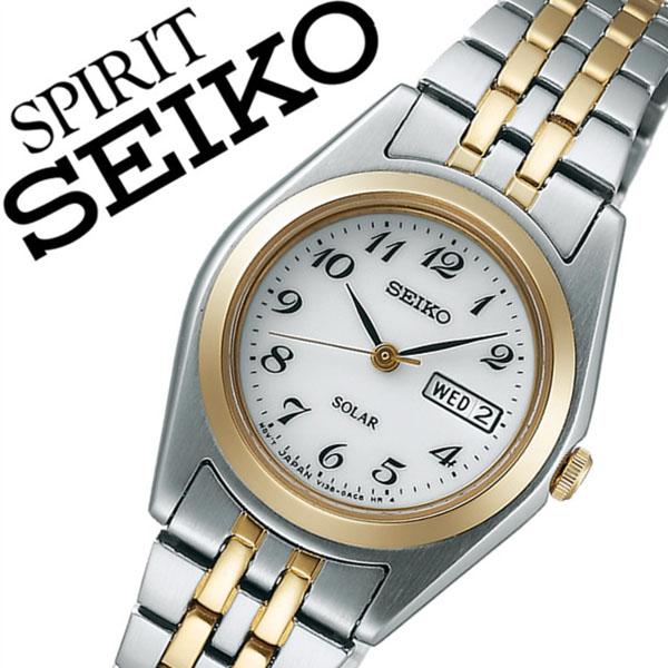 セイコー スピリット 腕時計[SEIKO SPIRIT 時計]セイコー 時計[SEIKO 腕時計]セイコー スピリット時計[SEIKO SPIRIT時計]レディース ホワイト STPX016 [スピリッツ メタル ベルト ソーラー シルバー ゴールド シンプル][バーゲン プレゼント ギフト]