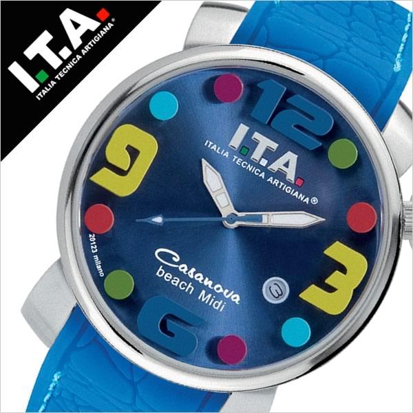 アイティーエー 腕時計 [I.T.A.時計](I.T.A. 腕時計 アイティーエー 時計 ) カサノバ ビーチ ミディ ( CASANOVA BEACH Midi ) メンズ レディース ブルー SITA-19-03-08 [ラバー ベルト クロコ クオーツ シルバー ブルー マルチカラー][おしゃれ 腕時計]
