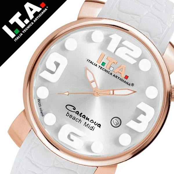 アイティーエー 腕時計 [I.T.A.時計](I.T.A. 腕時計 アイティーエー 時計 ) カサノバ ビーチ ミディ ( CASANOVA BEACH Midi ) メンズ レディース 腕時計 シルバー SITA-19-03-10 [ラバー ベルト クロコ クオーツ ローズゴールド ホワイト][おしゃれ 腕時計]
