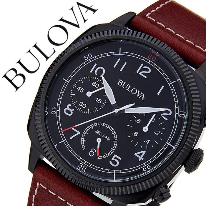 ブローバ 腕時計 [BULOVA時計]( BULOVA 腕時計 ブローバ 時計 ) ミリタリー ( MILITARY ) メンズ 腕時計 ブラック 98B245 [革 ベルト クロノグラフ クォーツ アナログ ブラウン][バーゲン プレゼント ギフト][おしゃれ 腕時計]