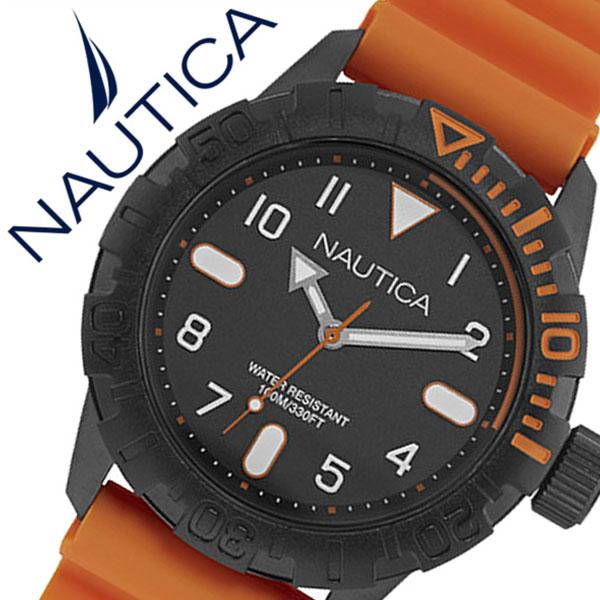 【5年保証対象】ノーティカ 腕時計 NAUTICA 時計 NSR106 メンズ ブラック NAD10082G ラバー ベルト 防水 新作 ブランド オレンジ スポーツ 人気 プレゼント 父の日 ギフト