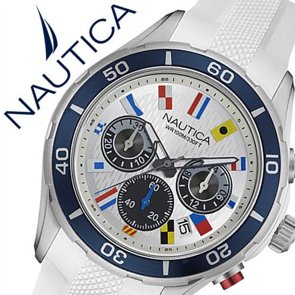 ノーティカ 腕時計 [NAUTICA時計]( NAUTICA 腕時計 ノーティカ 時計 ) ( NST12 FLAGS ) メンズ 腕時計 シルバー NAD16536G [正規品 ラバー ベルト クロノグラフ クオーツ 防水 新作 ブランド ホワイト ブルー スポーツ アナログ][バーゲン プレゼント ギフト][おしゃれ]
