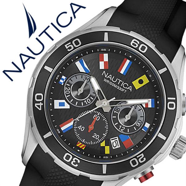 ノーティカ 腕時計 [NAUTICA時計]( NAUTICA 腕時計 ノーティカ 時計 ) ( NST12 FLAGS ) メンズ 腕時計 ブラック NAD16537G [正規品 ラバー ベルト クロノグラフ クオーツ 防水 新作 ブランド シルバー スポーツ アナログ][バーゲン プレゼント ギフト][おしゃれ 腕時計]