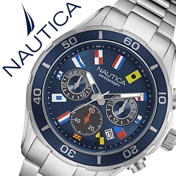 【5年保証対象】ノーティカ 腕時計 NAUTICA 時計 NST12 FLAGS メンズ ブルー NAD19549G メタル ベルト クロノグラフ 防水 新作 ブランド ネイビー シルバー スポーツ 人気 プレゼント 父の日 ギフト