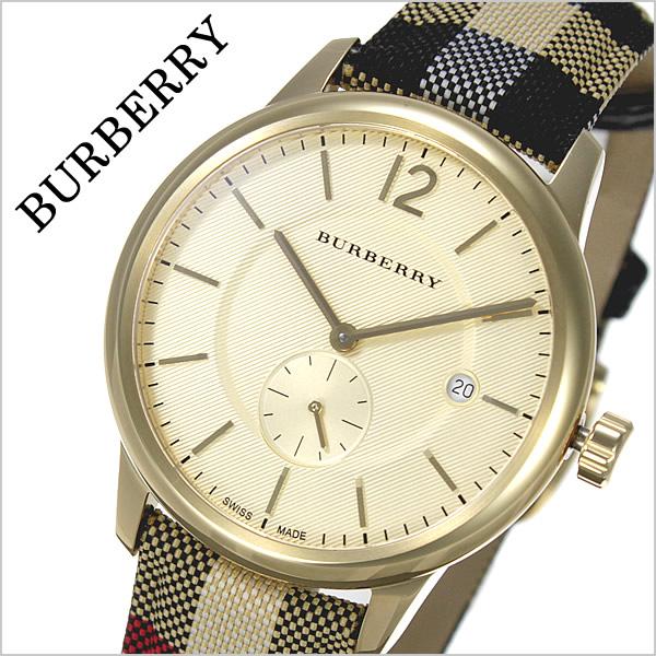 バーバリー 腕時計 メンズ 男性 [BURBERRY] 時計 ゴールド BU10001 [おすすめ ブランド バーゲン プレゼント ギフト オシャレ レザー 革 キャンバス チェック柄][おしゃれ 腕時計]