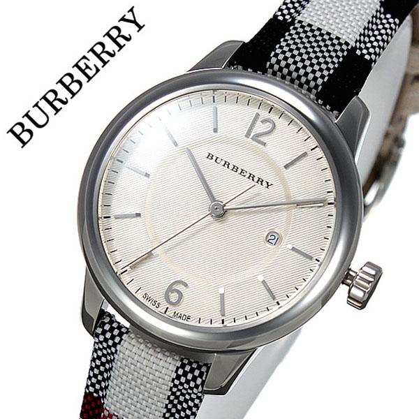 バーバリー 時計 BURBERRY 腕時計 バーバリー ロンドン 腕時計 BURBERRY LONDON 時計 レディース ベージュ BU10103 おすすめ ブランド プレゼント ギフト おしゃれ オシャレ レザー 革 キャンバス ホワイト シルバー チェック柄 送料無料