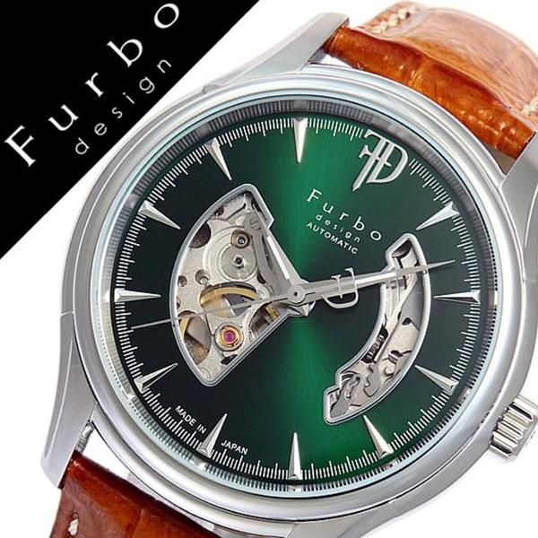 フルボデザイン 腕時計 [Furbodesign時計]( Furbo design 腕時計 フルボ デザイン 時計 ) メンズ 腕時計 グリーン F5025NGRBR [革 ベルト 正規品 機械式 自動巻 メカニカル オートマチック オープンハート ブラウン シルバー][ プレゼント バーゲン][おしゃれ 腕時計]