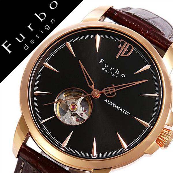 フルボデザイン 腕時計 [Furbodesign時計]( Furbo design 腕時計 フルボ デザイン 時計 ) メンズ 腕時計 ブラック F5027PBKBR [革 ベルト 正規品 機械式 自動巻 メカニカル オートマチック イタリアンレザー ブラウン ローズ ゴールド][おしゃれ 腕時計]