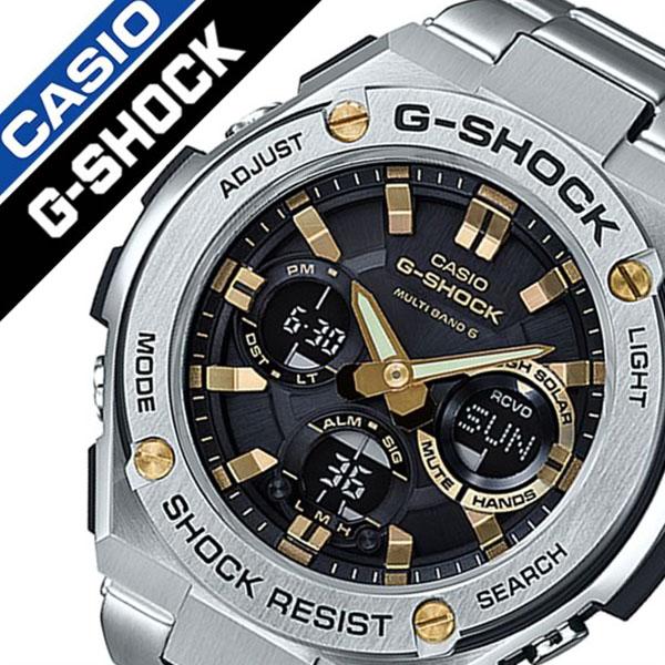 カシオ 腕時計 CASIO 時計 カシオ 時計 CASIO 腕時計 Gショック ジースティール G-SHOCK G-STEEL メンズ ブラック GST-W110D-1A9JF アナデジ デジタル 正規品 防水 液晶 タフ ソーラー ストップ ウォッチ 電波 時計 シルバー ゴールド