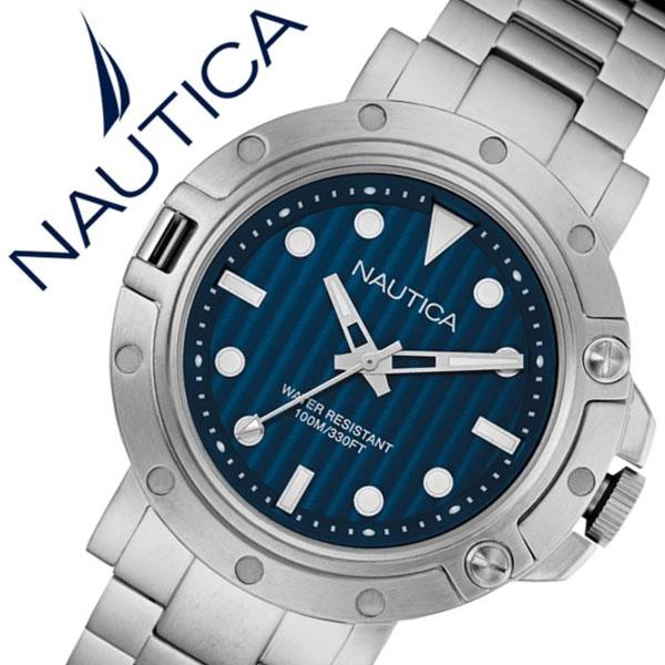 【5年保証対象】ノーティカ 腕時計 NAUTICA 時計 ノーティカ 時計 NAUTICA 腕時計 ジェンツ NST800 GENTS メンズ ネイビー NAD16005G 正規品 人気 新作 流行 ブランド 防水 メタル ベルト ギフト プレゼント シルバー 送料無料