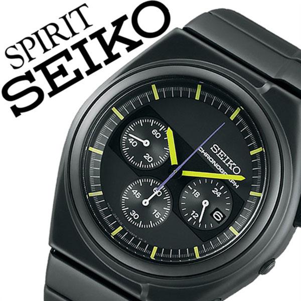 [在2017年1月27日開始銷售]精工精神智能手錶[SEIKO SPIRIT SMART鐘表]精工鐘表[SEIKO手錶]人/黑色SCED059[金屬皮帶/正規的物品/防水/限定1000部/黄色][白色情人節]