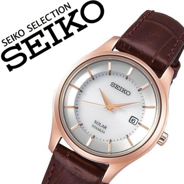 【5年保証対象】セイコー 腕時計 SEIKO 時計 セイコー 時計 SEIKO 腕時計 セイコーセレクション SEIKO SELECTION レディース シルバー STPX046 正規品 ペアモデル ソーラー 軽量 ブラウン レザー 革ベルト 送料無料