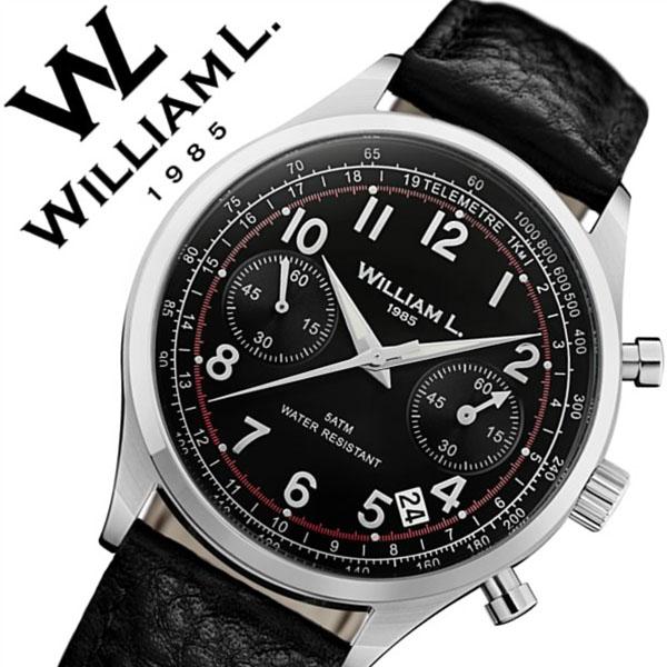 【5年保証対象】ウィリアムエル 腕時計 WilliamL 1985 時計 ウィリアム エル 時計 William L 1985 腕時計 ウイリアムエル クロノグラフ Chronographs メンズ レディース ブラック WLAC01NRBN 人気 ブランド シンプル 革 レザー ベルト プレゼント ギフト 送料無料