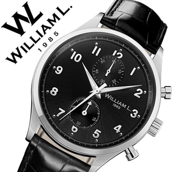 ウィリアムエル腕時計 William L 1985 腕時計 ウィリアムエル 時計 スモールクロノグラフ Small Chronographs メンズ レディース ブラック WLAC02NRCN [正規品 新作 人気 ブランド 防水 スイス シンプル 革 レザー ベルト バーゲン プレゼント ギフト シルバー]