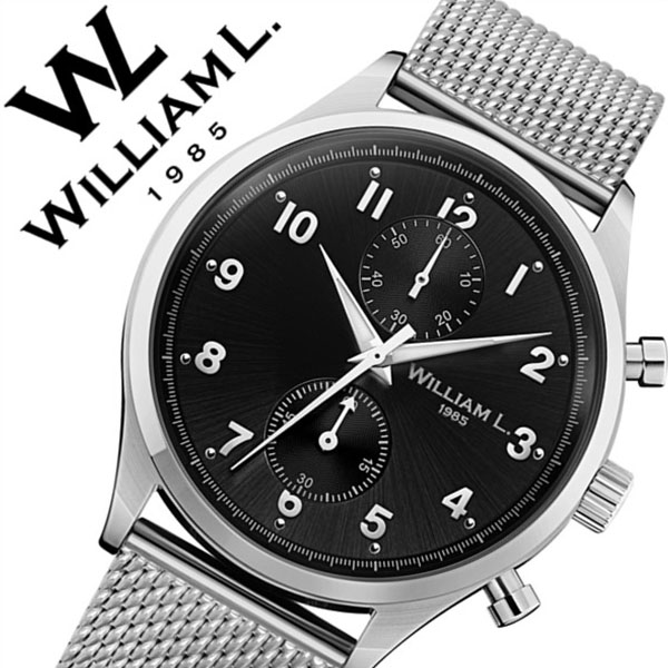 ウィリアムエル腕時計 William L 1985 腕時計 ウィリアムエル 時計 スモールクロノグラフ Small Chronographs メンズ レディース ブラック WLAC02NRMM [正規品 新作 人気 ブランド 防水 スイス シンプル メッシュ メタル ベルト バーゲン プレゼント ギフト シルバー]