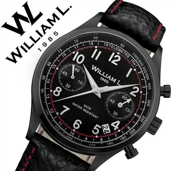 【5年保証対象】ウィリアムエル 腕時計 WilliamL 1985 時計 ウィリアム エル 時計 William L 1985 腕時計 ウイリアムエル クロノグラフ Chronographs メンズ レディース ブラック WLIB01NRBNSR 人気 ブランド シンプル 革 レザー ベルト プレゼント ギフト 送料無料