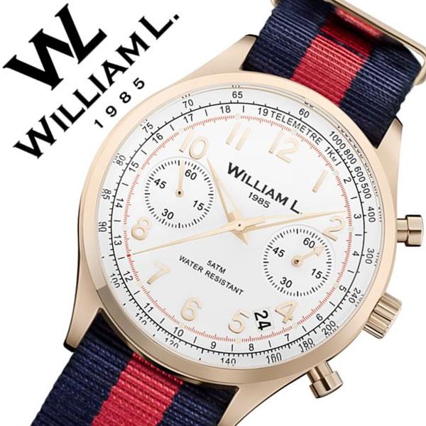 ウィリアムエル腕時計 William L 1985 腕時計 ウィリアムエル 時計 クロノグラフ Chronographs メンズ レディース ホワイト WLOR01BCORNBR [正規品 新作 人気 ブランド 防水 スイス シンプル ナイロン ベルト レッド ブルー バーゲン プレゼント ギフト ローズゴールド]
