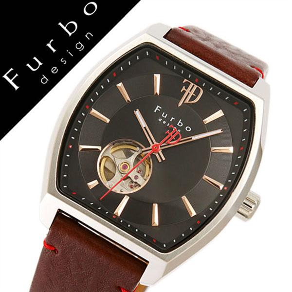 フルボデザイン腕時計 Furbodesign時計 Furbo design 腕時計 フルボ デザイン 時計 メンズ ブラック F8201SBKBR [正規品 人気 新作 ブランド 防水 レザー 革 機械式 自動巻き スケルトン トノー ミネラルガラス ブラウン][おしゃれ 腕時計]