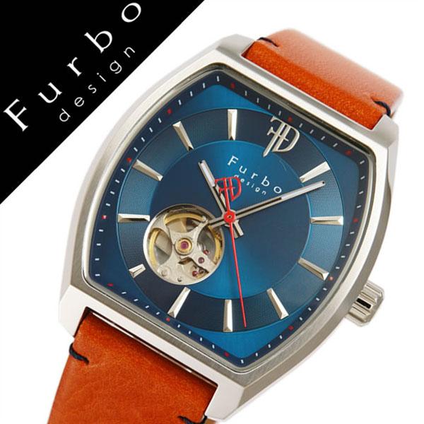 フルボデザイン腕時計 Furbodesign時計 Furbo design 腕時計 フルボ デザイン 時計 メンズ ネイビー F8201SNVLB [正規品 人気 新作 ブランド 防水 レザー 革 機械式 自動巻き スケルトン トノー ミネラルガラス ライトブラウン][おしゃれ 腕時計]