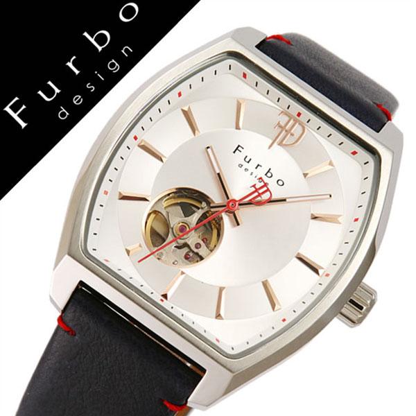 【5年保証対象】フルボデザイン 腕時計 Furbodesign 時計 フルボ デザイン 時計 Furbo design 腕時計 メンズ シルバー F8201SSINV 正規品 人気 新作 ブランド 防水 レザー 革 機械式 自動巻き スケルトン トノー ミネラルガラス ネイビー 父の日 ギフト