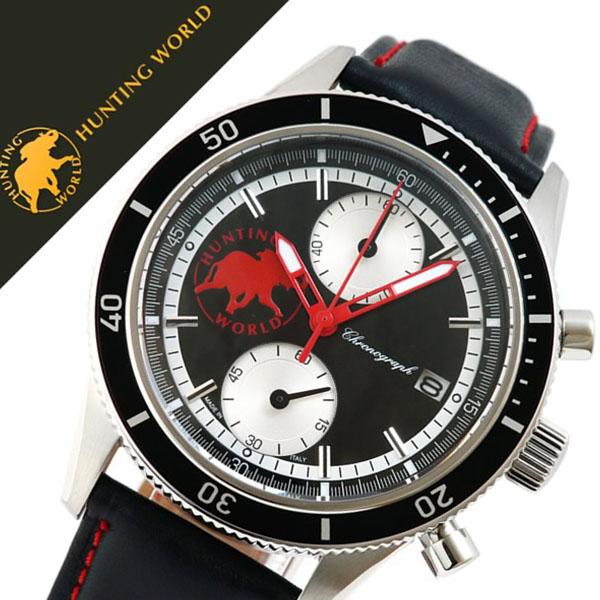 ハンティングワールド腕時計 HUNTINGWORLD時計 HUNTING WORLD 腕時計 ハンティング ワールド 時計 グランド クロノ GRAND CHRONO メンズ ブラック HW024BK [正規品 新作 人気 ブランド 防水 バーゲン プレゼント ギフト 革 レザー][おしゃれ 腕時計]