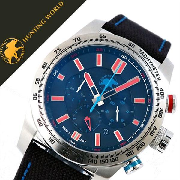 ハンティングワールド腕時計 HUNTINGWORLD時計 HUNTING WORLD 腕時計 ハンティング ワールド 時計 スーパークロノマジック SUPER CHRONO MAGIC メンズ ブラック HW025SBKR [正規品 新作 人気 ブランド 防水 バーゲン プレゼント ギフト レッド ナイロン][おしゃれ 腕時計]