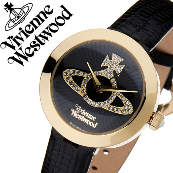 ヴィヴィアンウエストウッド 腕時計 VivienneWestwood 時計 ヴィヴィアン ウエストウッド 時計 Vivienne Westwood 腕時計 ヴィヴィアン 時計 クイーンズゲート レディース ブラック VV150GDBK 新作 人気 ブランド 革 レザー ギフト プレゼント ゴールド 送料無料