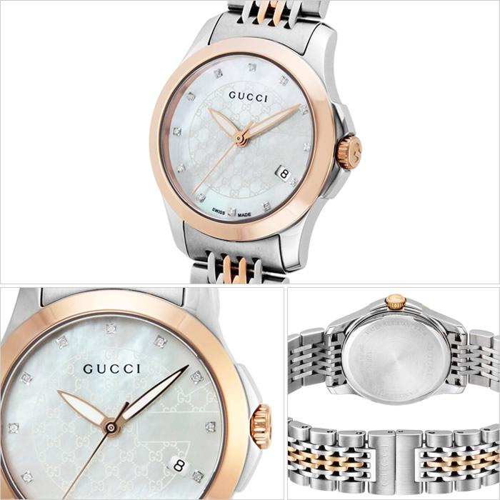 グッチ腕時計 GUCCI時計 GUCCI 腕時計 グッチ 時計 Gタイムレス G Timeless レディース ホワイト YA126539 [新作 人気 ブランド 高級 おすすめ ファッション バーゲン プレゼント ギフト メタル シルバー ローズゴールド シェル][おしゃれ 腕時計]