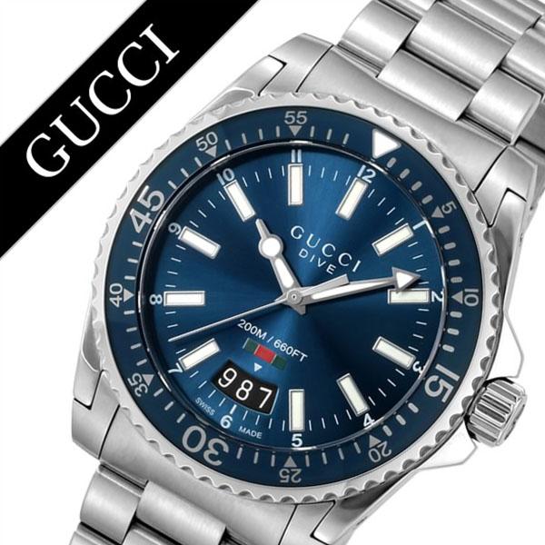 グッチ 腕時計 GUCCI 時計 ダイブ シリーズ DIVE メンズ ブルー YA136311 [新作 人気 ブランド 防水 高級 おすすめ ファッション バーゲン プレゼント ギフト メタル シルバー][おしゃれ 腕時計]