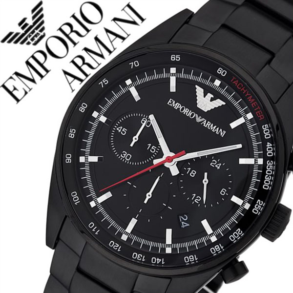 エンポリオアルマーニ 腕時計 EMPORIOARMANI 時計 エンポリオ アルマーニ 時計 EMPORIO ARMANI 腕時計 メンズ ブラック AR6094 人気 ビジネス ビジカジ ブランド EA エンポリ プレゼント タキメーター メタルss10 父の日 ギフト