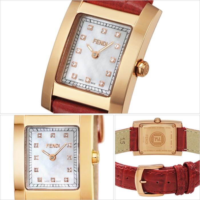 フェンディ 腕時計 FENDI 時計 フェンディ 時計 FENDI 腕時計 クラシコ CLASSICO レディース ホワイト F704247D フェンディー スイス製 イタリア ギフト プレゼント 人気 ブランド ファッション おしゃれ シェル ゴールド レッド ダイアモンド レザー 革