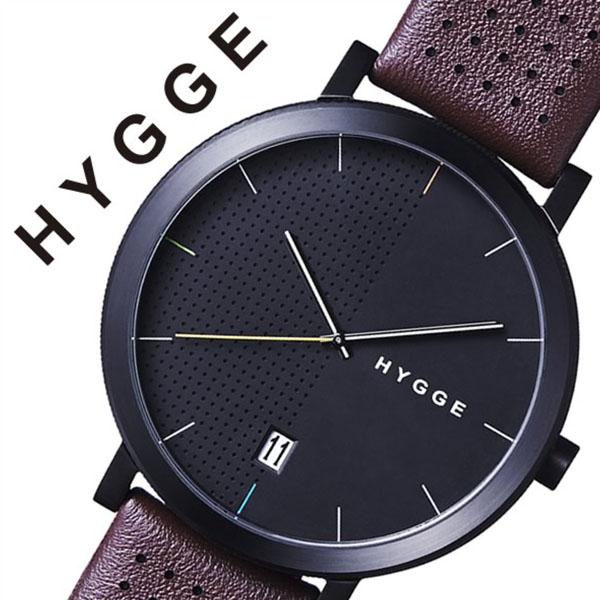 ヒュッゲ 時計 HYGGE 腕時計 2203 メンズ レディース ブラック HGE020063[正規品 北欧 ミニマル シンプル 個性的 インテリア 人気 ブランド プレゼント ギフト 革 レザー ペアウォッチ ユニセックス デザイナーウォッチ ファッション コーデ ブラウン][送料無料]