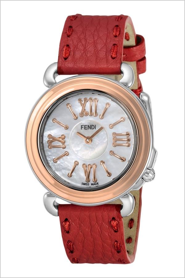 フェンディ腕時計 FENDI時計 FENDI 腕時計 フェンディ 時計 セレリア SELLERIA レディース ホワイト SET-FENDI-003 [スイス製 イタリア ギフト バーゲン プレゼント 新作 人気 ブランド ファッション ピンクゴールド シェル レザー 革 レッド]