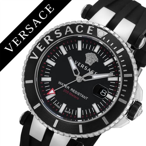 [当日出荷] ヴェルサーチ 腕時計 VERSACE 時計 ヴェルサーチ 時計 VERSACE 腕時計 ベルサーチ Vレース ダイバー V-RACEDIVER メンズ ブラック VAK010016 人気 ブランド イタリア 革 レザー シルバー プレゼント ギフト 送料無料