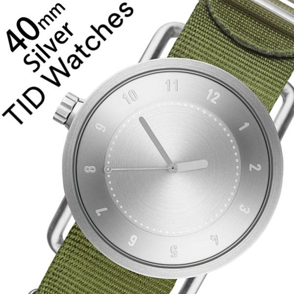ティッドウォッチ腕時計 TIDWatches時計 TID Watches 腕時計 ティッド ウォッチ 時計 メンズ シルバー TID01-SV40-NGR [正規品 人気 流行 ブランド 革 レザーベルト 北欧 シンプル グリーン ナイロン][新生活 入学 卒業 社会人]