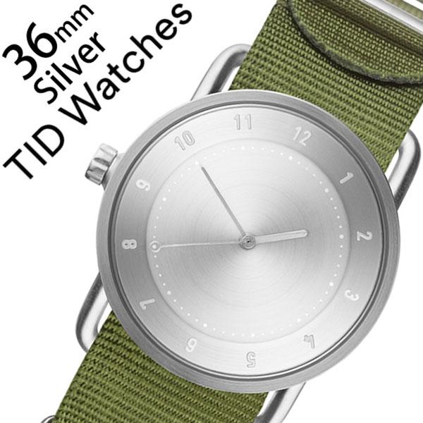 [当日出荷] 【5年保証対象】ティッドウォッチ 腕時計 TIDWatches 時計 ティッド ウォッチ 時計 TID Watches 腕時計 レディース シルバー SET-TID02-SV36-NGR 正規品 人気 流行 ブランド 革 レザーベルト 北欧 シンプル グリーン ナイロン 送料無料