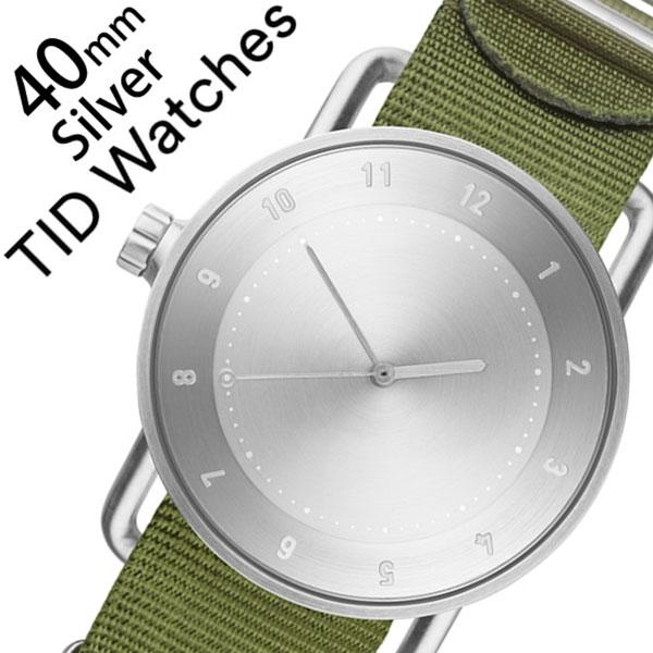 ティッドウォッチ腕時計 TIDWatches時計 TID Watches 腕時計 ティッド ウォッチ 時計 メンズ シルバー TID02-SV40-NGR [正規品 人気 流行 ブランド 革 レザーベルト 北欧 シンプル グリーン ナイロン][新生活 入学 卒業 社会人]