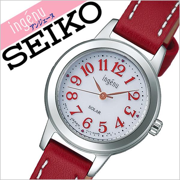 【5年保証対象】セイコー 腕時計 SEIKO 時計 セイコー 時計 SEIKO 腕時計 アルバ アンジェーヌ ALBA ingenu レディース ホワイト AHJD100 正規品 新作 ブランド 人気 ソーラー 防水 革 レザー ベルト シルバー レッド