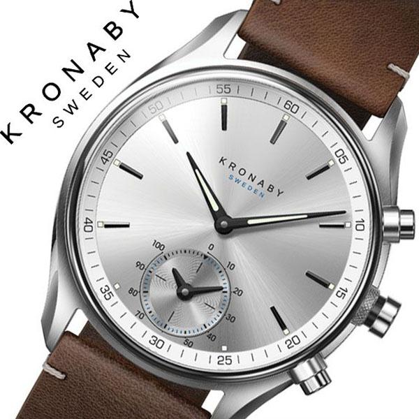 クロナビー腕時計 KRONABY時計 KRONABY 腕時計 クロナビー 時計 セイケル SEKEL メンズ シルバー A1000-1902 [正規品 北欧 スマホ ウォーキング ミニマル 運動 革 レザー スマートウォッチ ラウンド アプリ カレンダー GPS]