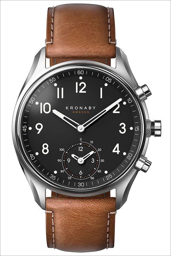 クロナビー 腕時計 KRONABY 時計 クロナビー 時計 KRONABY 腕時計 アペックス APEX メンズ ブラック A1000-1907 正規品 北欧 革 レザー スマートウォッチ ラウンド アプリ カレンダー GPS ハイスペック ブルートゥース ビジネス シンプル ブラウン