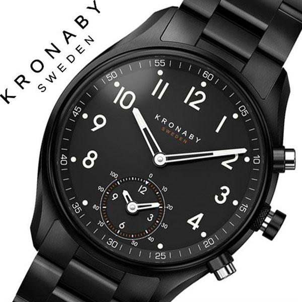 クロナビー腕時計 KRONABY時計 KRONABY 腕時計 クロナビー 時計 アペックス APEX メンズ ブラック A1000-1909 [正規品 北欧 スマホ ウォーキング ミニマル 運動 ステンレス スマートウォッチ ラウンド アプリ カレンダー GPS]