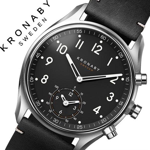 クロナビー 腕時計 KRONABY 時計 クロナビー 時計 KRONABY 腕時計 アペックス APEX メンズ ブラック A1000-1910 正規品 北欧 革 レザー スマートウォッチ ラウンド アプリ カレンダー GPS ハイスペック ブルートゥース ビジネス シンプル オールブラック 父の日 ギフト
