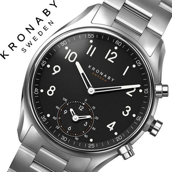 クロナビー腕時計 KRONABY時計 KRONABY 腕時計 クロナビー 時計 アペックス APEX メンズ ブラック A1000-1911 [正規品 北欧 スマホ ウォーキング ミニマル 運動 ステンレス スマートウォッチ ラウンド アプリ カレンダー GPS]