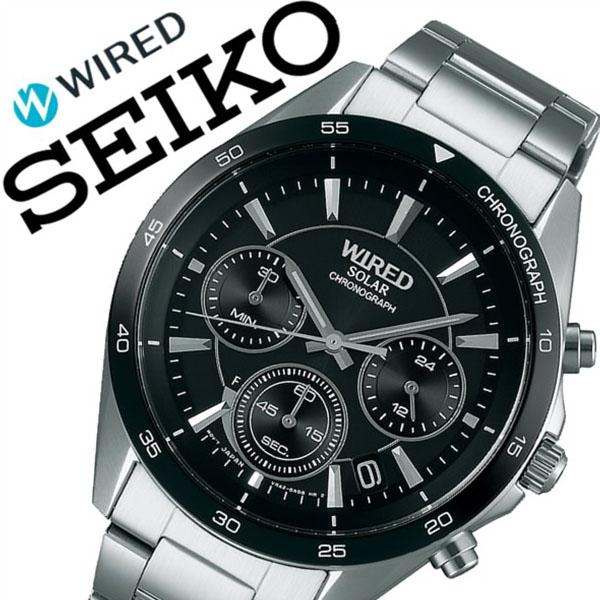 【5年保証対象】セイコー 腕時計 SEIKO 時計 セイコー 時計 SEIKO 腕時計 ワイアード WIRED メンズ ブラック AGAD087 正規品 新作 ブランド 人気 ソーラー 防水 メタル シルバー 父の日 ギフト