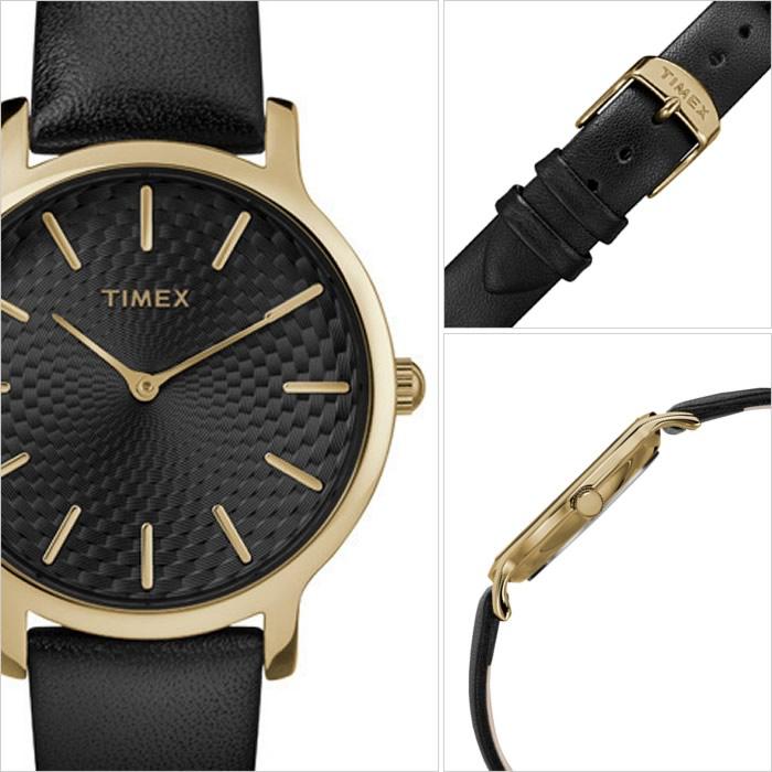 TIMEX 腕時計 タイメックス 時計 スカイライン SKYLINE 34MM レディース ブラック TW2R36400 [正規品 欧米 アメリカ ユニセックス ペアウォッチ ラウンド おしゃれ シンプル ビジネス カジュアル ファッション レザー 革 ゴールド バーゲン プレゼント ギフト]