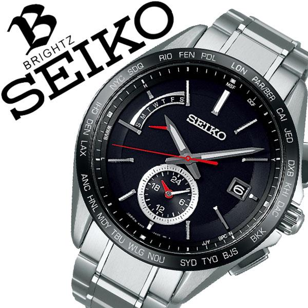 SEIKO 腕時計 セイコー 時計 ブライツ BRIGHTZ メンズ ブラック SAGA241 [正規品 ビジネス スーツ オフィスカジュアル シンプル ラウンド レッド チタン ソーラー 電波時計 バーゲン プレゼント ギフト]