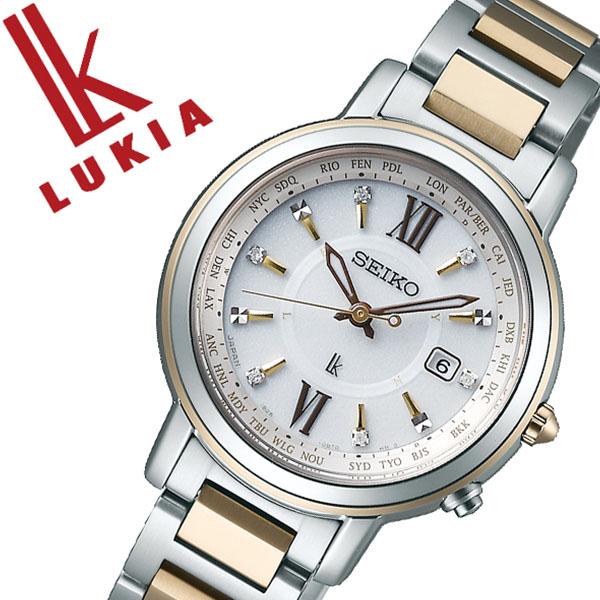 SEIKO 腕時計 セイコー 時計 ルキア LUKIA レディース ホワイト SSQV032 [正規品 ビジネス スーツ オフィスカジュアル シンプル ラウンド ゴールド チタン ソーラー 電波時計 バーゲン プレゼント ギフト]
