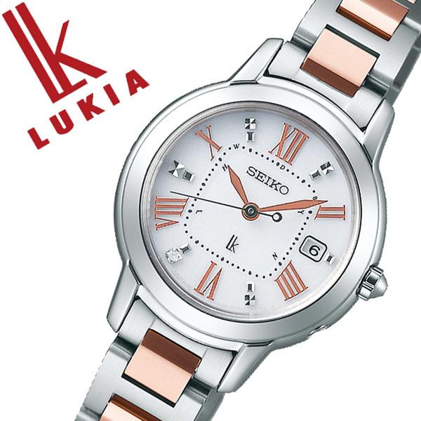 SEIKO 腕時計 セイコー 時計 ルキア LUKIA レディース ホワイト SSQW037 [正規品 ビジネス スーツ オフィスカジュアル シンプル ラウンド ローズゴールド チタン ソーラー 電波時計 バーゲン プレゼント ギフト]